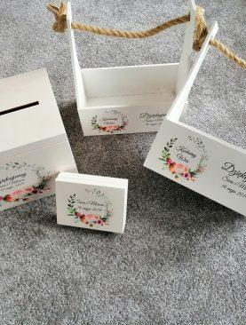 MEGA komplet ślubny - skrzynia na koperty i obrączki oraz nosidła na prezenty dla Rodziców