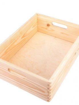 Duża Skrzynia drewniana z uchwytami - na prezent, zabawki lub narzędzia