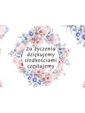 Etykiety naklejki na ciasto weselne z motywem błękitno różowym