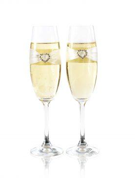 Komplet kieliszków do szampana z serduszkiem