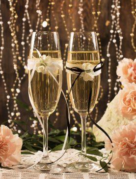 Komplet kieliszków do szampana z dekoracją