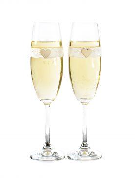 Kieliszki do szampana z koronką