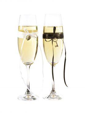 Czarno biały komplet kieliszków do szampana