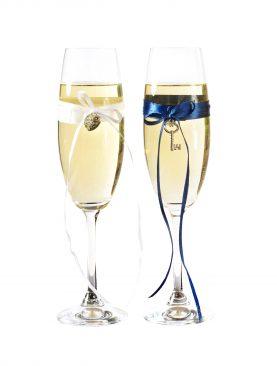Kieliszki do szampana - biało niebieskie dodatki