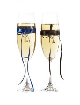 Czarno-granatowy komplet kieliszków do szampana