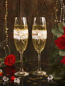 Rustykalne Lampki kieliszki do szampana dla Młodej pary