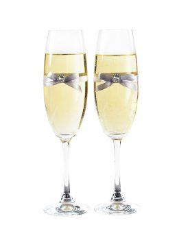 Kieliszki do szampana z dekoracją w kolorze srebrnym