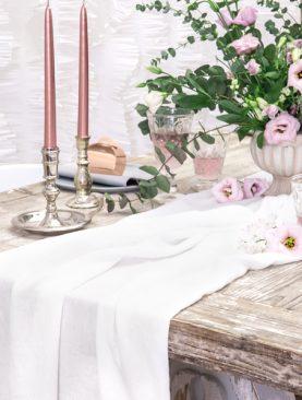 Kremowy bieżnik muślinowy na stół - dekoracja 0,7x5m
