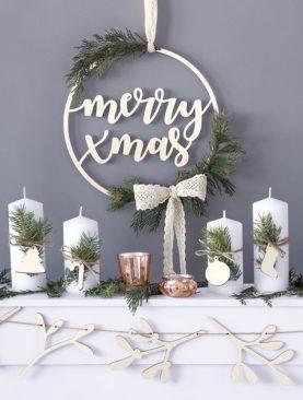 Zawieszka dekoracyjna Merry Xmas drewniana wianek