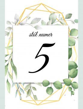 Numer stolika numeracja stołów - geometryczne listki Komplet 1