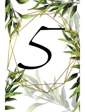Numer stolika numeracja Komplet 4