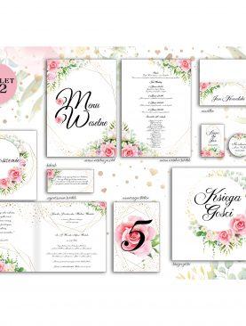 Zaproszenie ślubne jasno różowe Komplet 2