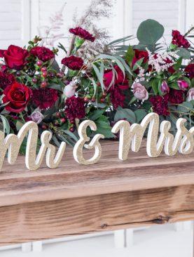 Drewniany napis MR & MRS złoty duży 50cm