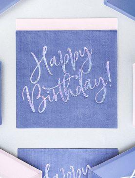 Niebieskie Serwetki URODZINOWE happy birthday chusteczki