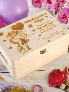 Duży Kuferek wspomnień Pudełko na CHRZEST roczek