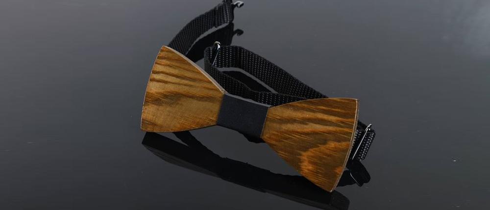 Drewniane muszki do garnituru na ślub
