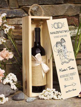 Skrzynka na wino - prezent dla Rodziców, Świadków, Chrzestnych lub nowożeńców