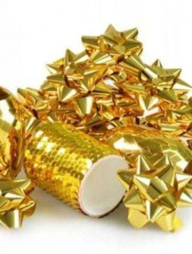 ZESTAW do ozdabiania prezentów ZŁOTY dekoracje