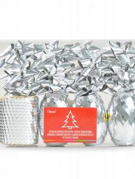 ZESTAW do ozdabiania prezentów Srebrny dekoracje