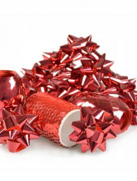 ZESTAW do ozdabiania prezentów CZERWONY dekoracje