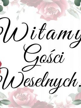 Plakat Witamy Gości weselnych tablica bordo